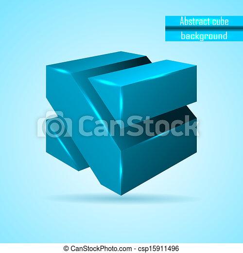 abstract blue cube vector - csp15911496