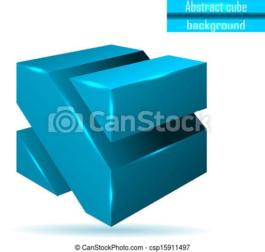abstract blue cube vector - csp15911497