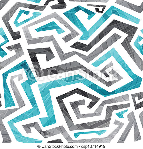 abstract blue curved lines seamless pattern - csp13714919