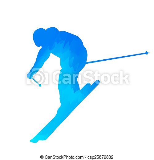 Abstract blue downhill skier - csp25872832