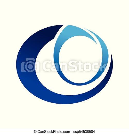 Abstract Blue Eye Symbol Graphic Logo Design