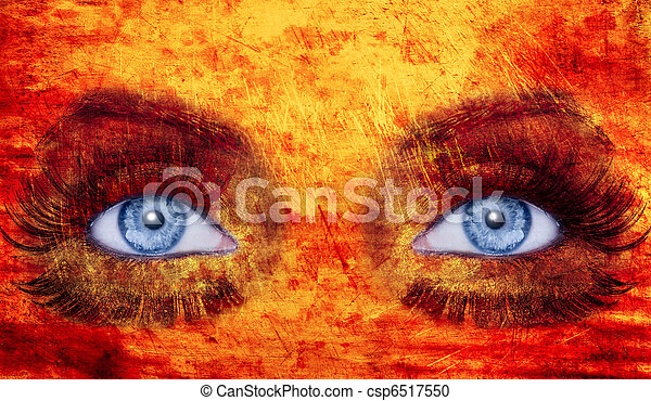 Abstract Blue Eyes Makeup Woman Texture Red Yellow