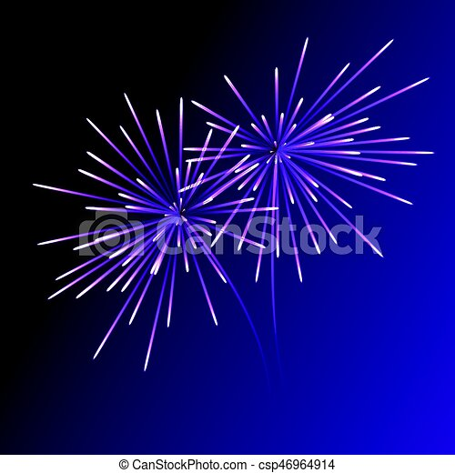 abstract blue fireworks explosion on transparent background new year celebration fireworks holiday