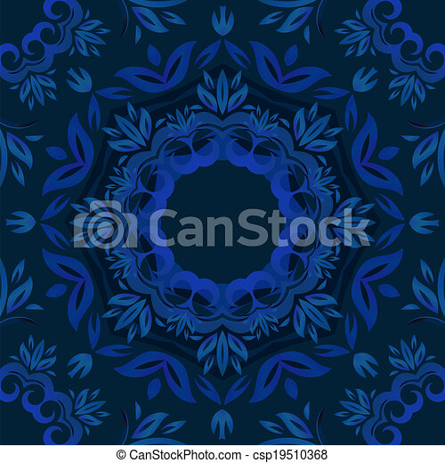Abstract blue floral background with round vector pattern - csp19510368
