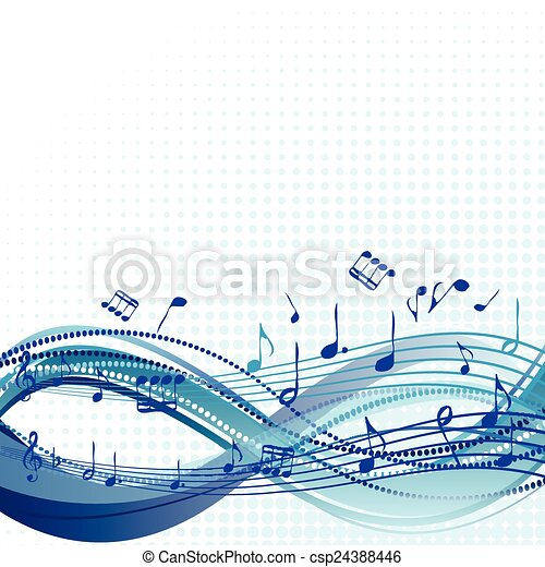 Abstract blue music background with notes - csp24388446