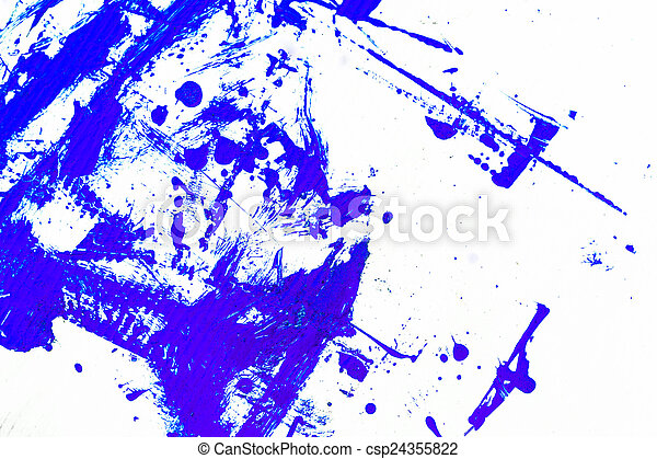 abstract blue paint, isolated on white background - csp24355822