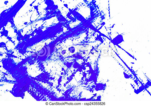 abstract blue paint, isolated on white background - csp24355826