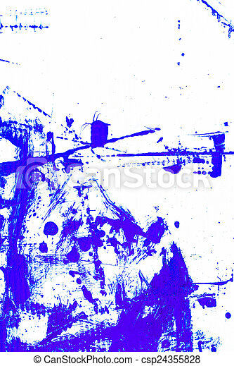 abstract blue paint, isolated on white background - csp24355828