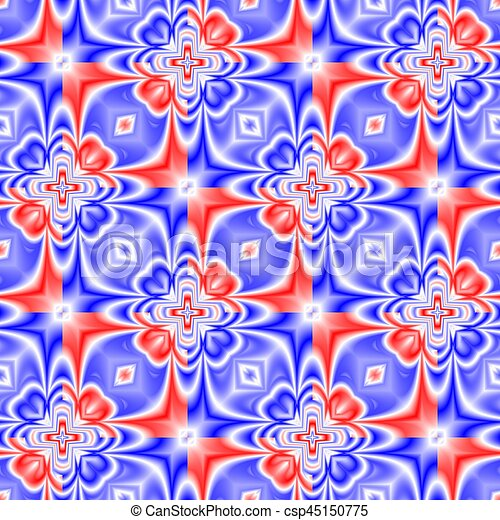 Abstract Blue Red And White Tiled Pattern Floral Tile Texture Background Seamless Illustration