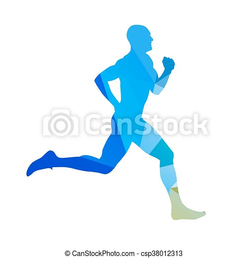 Abstract blue running man. Runner vector silhouette. Profile, side view - csp38012313
