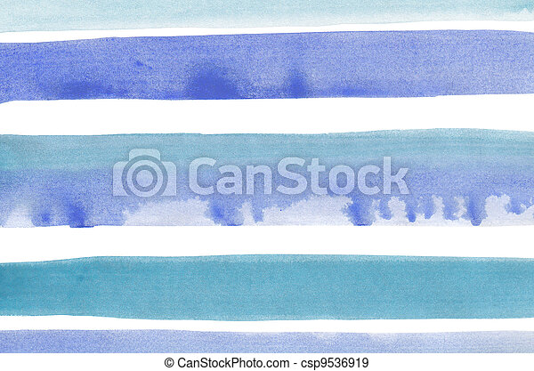 Abstract blue stripes watercolor background - csp9536919