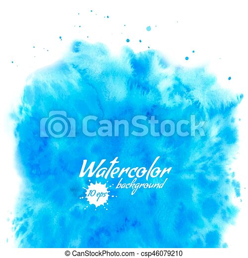 Abstract blue vector watercolor background - csp46079210