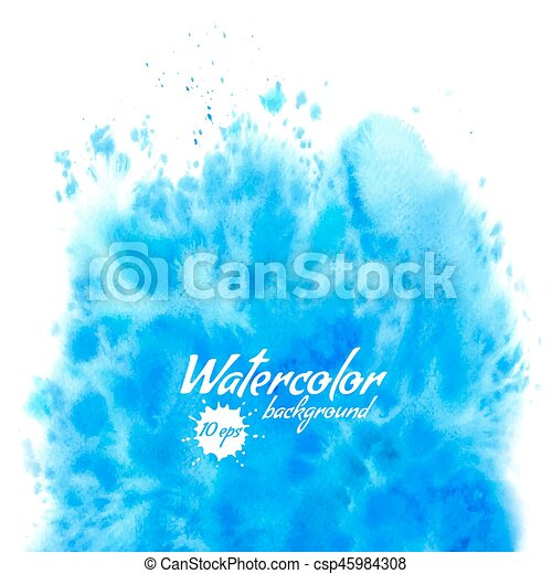 Abstract blue vector watercolor background - csp45984308