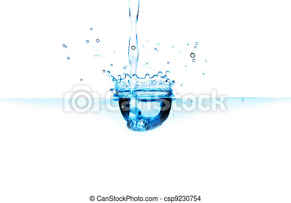 abstract blue water splash isolated - csp9230754