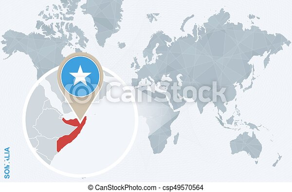 Abstract blue world map with magnified somalia somalia flag abstract blue world map with magnified somalia vector sciox Images