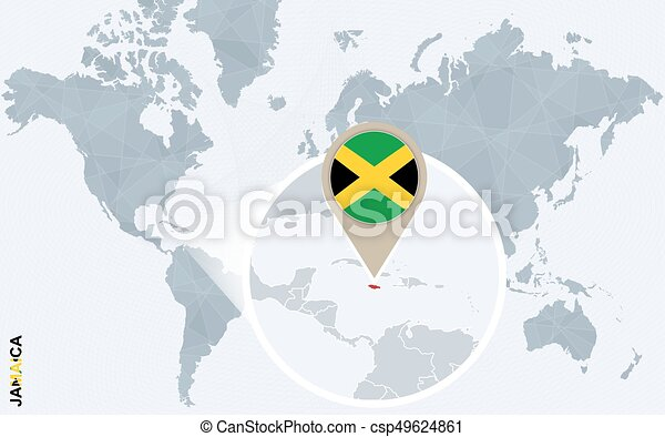 Abstract blue world map with magnified Jamaica.