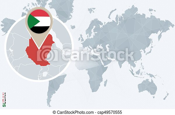 Abstract blue world map with magnified sudan sudan flag and