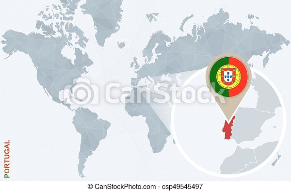 Abstract blue world map with magnified portugal. portugal flag and ...