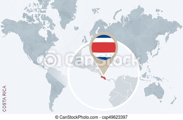 Abstract Blue World Map With Magnified Costa Rica Costa Rica Flag And Map Vector Illustration
