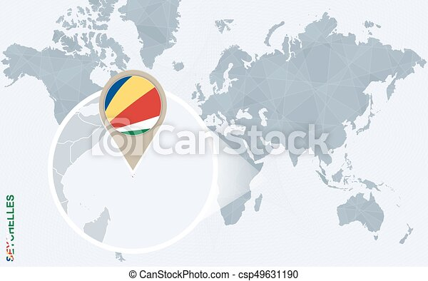 Abstract Blue World Map With Magnified Seychelles