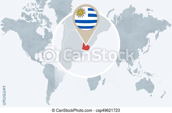 Abstract Blue World Map With Magnified Uruguay Uruguay Flag And Map