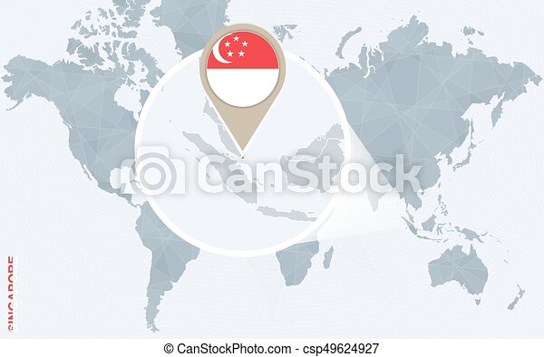 Abstract blue world map with magnified singapore. singapore flag and ...