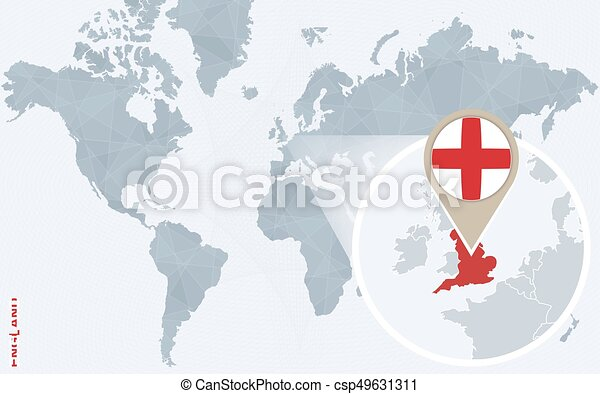 Abstract Blue World Map With Magnified England