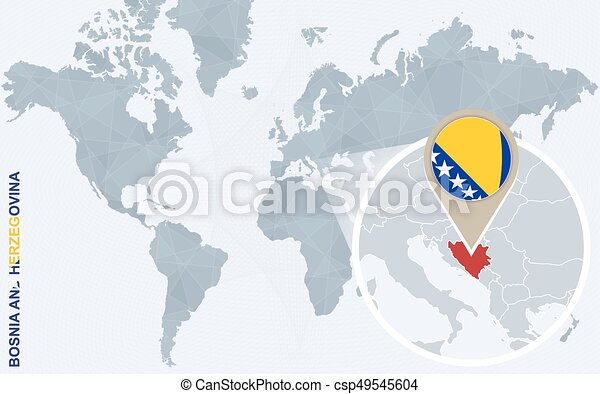 Abstract blue world map with magnified bosnia and herzegovina abstract blue world map with magnified bosnia and herzegovina bosnia and herzegovina flag and map vector illustration gumiabroncs Images