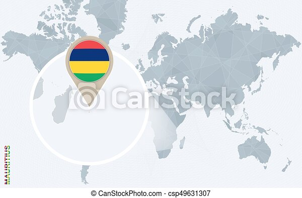 Abstract blue world map with magnified mauritius. mauritius flag and ...