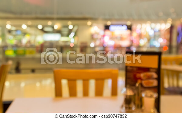 abstract blur background of restaurant in the shopping mall - csp30747832