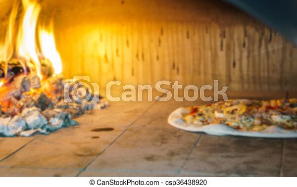 Abstract blur pizza in oven - csp36438920