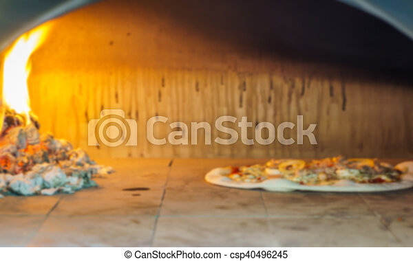 Abstract blur pizza in oven - csp40496245