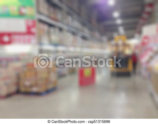 Abstract blur supermarket and retail store in shopping mall interior for background - csp51315696
