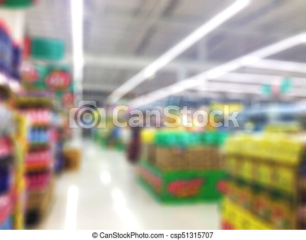 Abstract blur supermarket and retail store in shopping mall interior for background - csp51315707