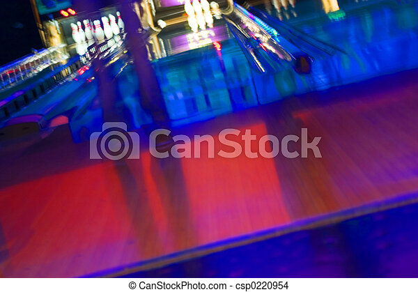 Abstract Blurry Bowling Alley with a girl standing - csp0220954