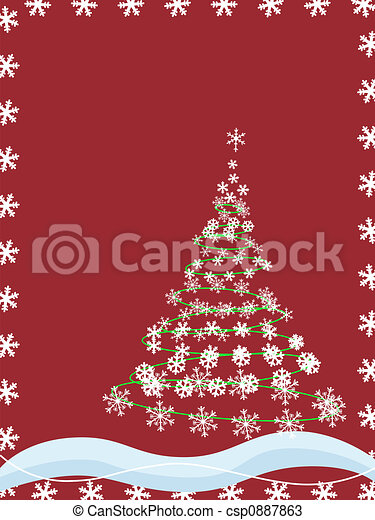 abstract, boompje, kerstmis, snowflakes - csp0887863