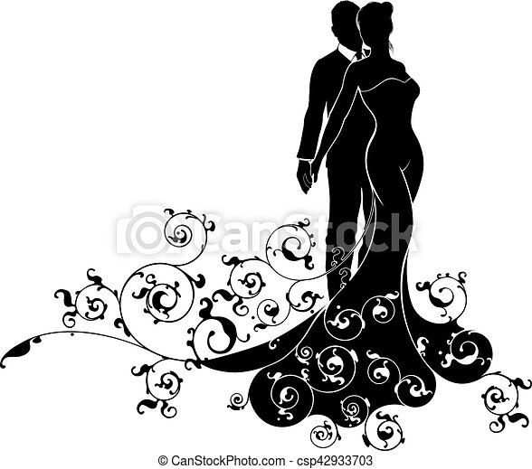 Abstract bride and groom wedding silhouette a bride and vector abstract bride and groom wedding silhouette vector junglespirit Gallery