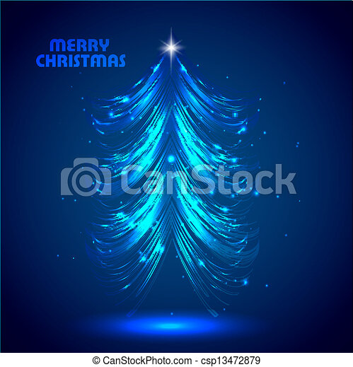 Abstract bright blue shiny christmas tree vector - csp13472879