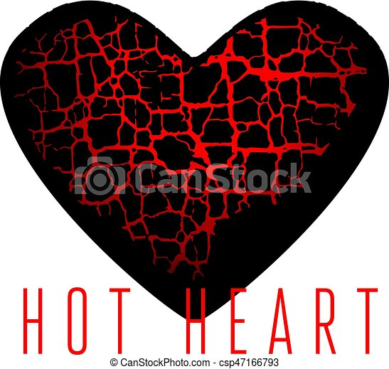 Abstract Broken Heart Symbol Red Hot Love Passion Icon Concept