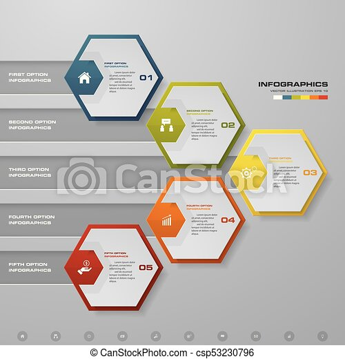 abstract business chart 5 steps diagram template step by step idea
