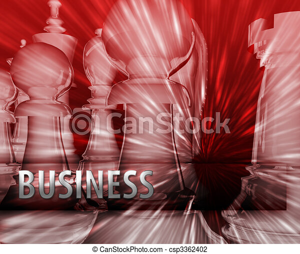 Abstract business strategy management chess themed illustration - csp3362402