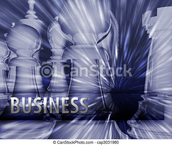 Abstract business strategy management chess themed illustration - csp3031980