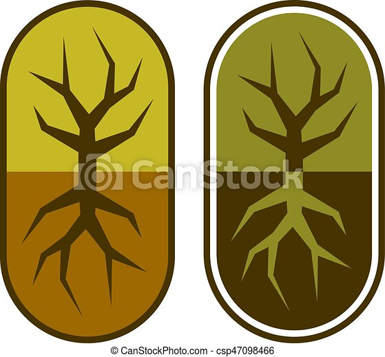 abstract capsule with tree symbol - csp47098466