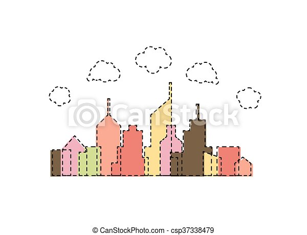 Abstract cartoon city design - csp37338479