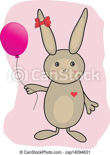 Abstract cartoon  easter card with cute bunny - csp14094631
