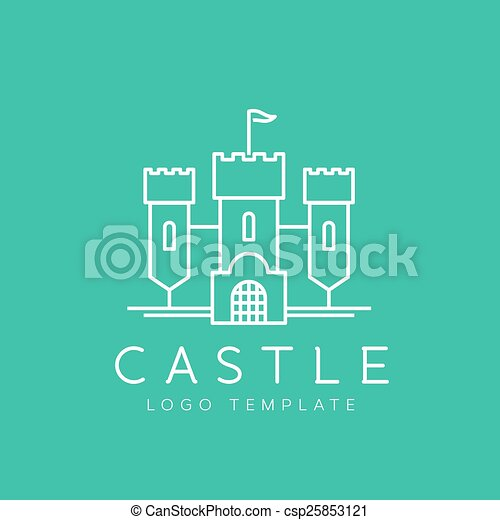 Abstract Castle Line Style Vector Logo Template - csp25853121