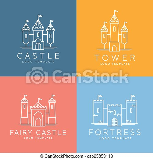 Abstract Castle Line Style Vector Logo Template Set - csp25853113