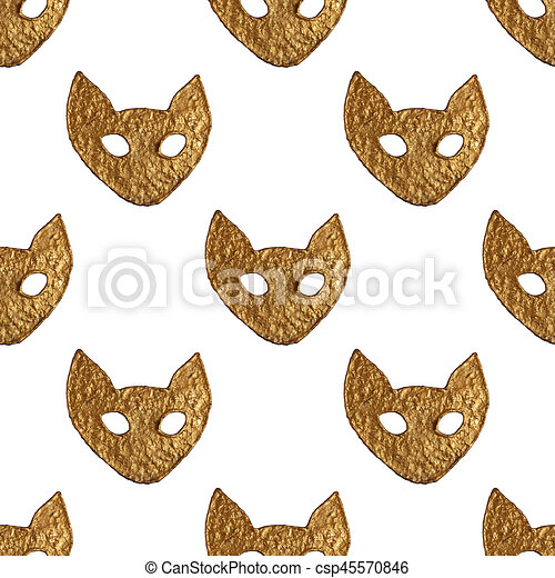 Abstract cat face pattern. Gold hand painted seamless background. - csp45570846