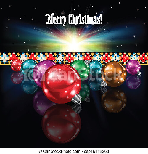 abstract celebration greeting with Christmas decorations - csp16112268