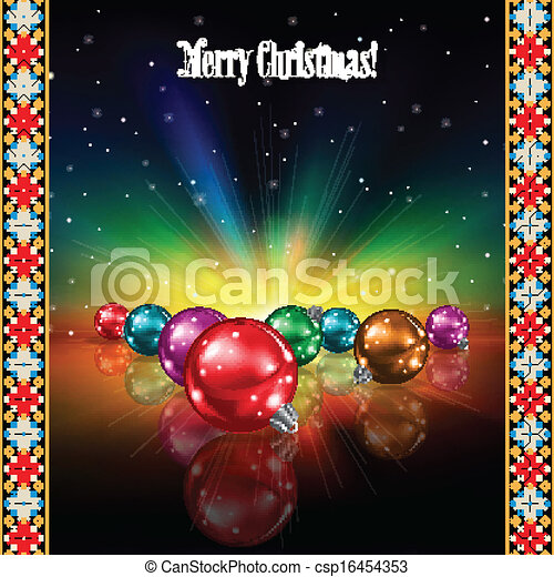 abstract celebration greeting with Christmas decorations - csp16454353